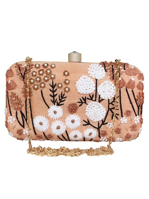 Adorn Embroidered & Embellished Faux Silk Clutch Peach & Multi