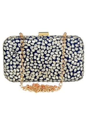 Adorn Embellished Faux Silk Clutch Navy Blue & Silver