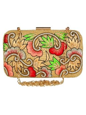 Adorn Embroidered & Embellished Faux Silk Clutch Beige & Multi