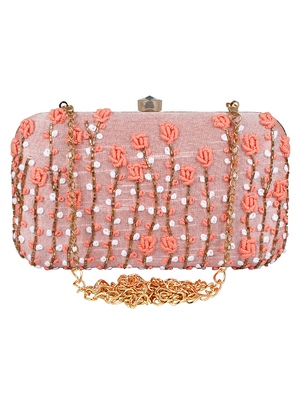Adorn Embroidered & Embellished Faux Silk Clutch Baby Pink