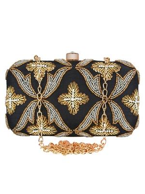 Adorn Embellished Faux Silk Clutch Black & Gold