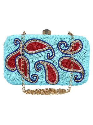 Adorn Embellished Faux Silk Clutch Sky Blue & Red