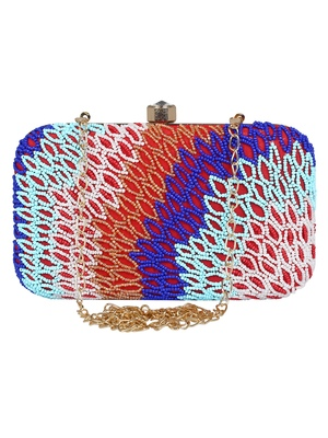 Adorn Embellished Faux Silk Clutch Multi & Red