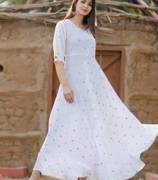 White printed Cotton ethnic kurtis
