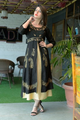 Black printed Cotton ethnic kurtis