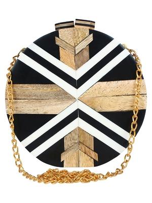 Balk Wooden Clutch Black & White