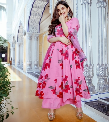 Pink printed Cotton ethnic kurtis
