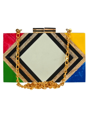 Balk Geometric Wooden Clutch Multi