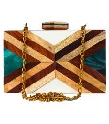 Balk Geometric Wooden Clutch Multi