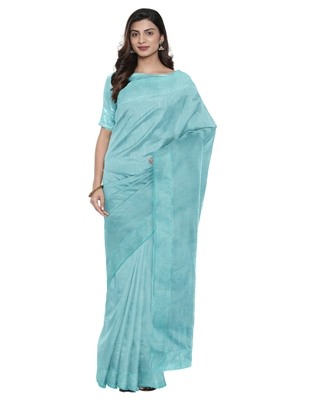 Sky blue plain silk blend saree with blouse