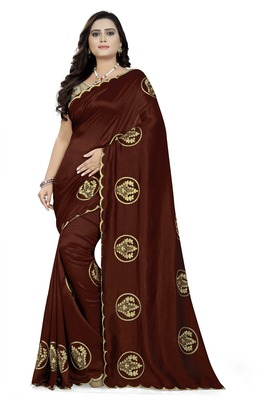 Brown embroidered faux georgette saree with blouse