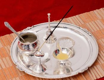 German Silver Elegant Pooja Thali with Velvet Box