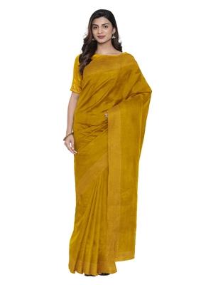 Mustard plain silk blend saree with blouse