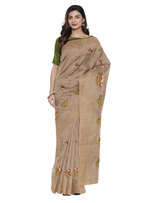 Brown plain linen saree with blouse