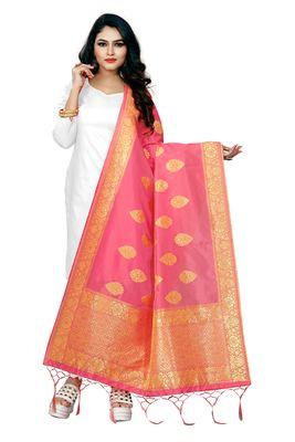 Pink Color jacquard Banarasi silk Dupatta