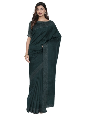 Dark green plain silk blend saree with blouse