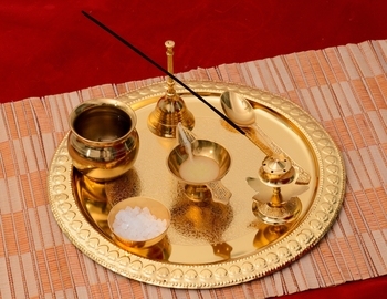 German Silver Exquisite Pooja Thali with Velvet Box