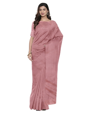 Pink plain silk blend saree with blouse