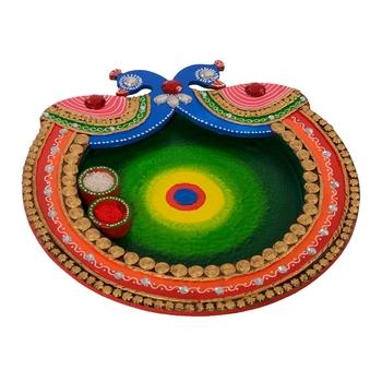 Wooden Papier Mache Designer Peocock Shape Pooja Thali