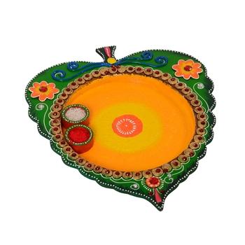 Wooden Papier Mache Designer Leaf Shape Pooja Thali