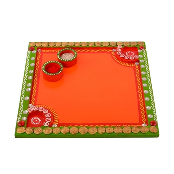 Wooden Papier Mache Embossed Square Shape Pooja Thali