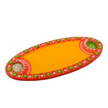 Wooden Papier Mache Embossed Oval Shape Pooja Thali