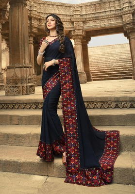 Dark royal blue printed georgette saree with blouse