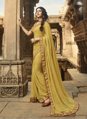 Light mustard printed georgette saree with blouse