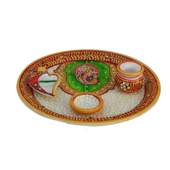 Marble Pooja Thali with Lord Ganesha