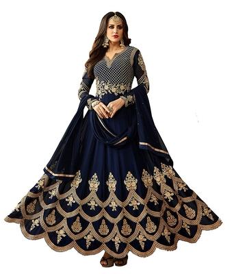 blue embroidered georgette unstitched salwar with dupatta