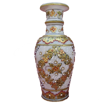 Gold Painted Marble Flower Vase