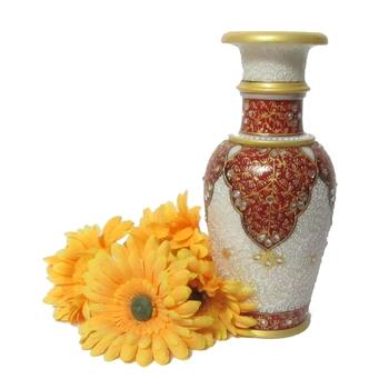 Kundan Embossed Marble Flower Vase