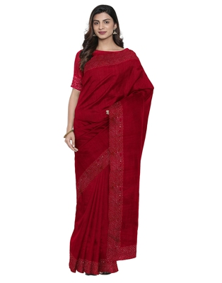 Maroon plain silk blend saree with blouse