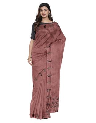 Brown plain silk blend saree with blouse