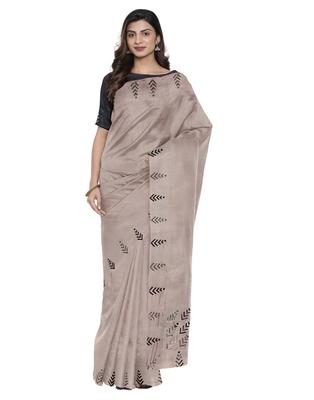 Mauve plain silk blend saree with blouse