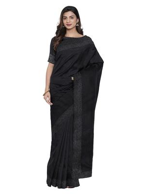 Black plain silk blend saree with blouse
