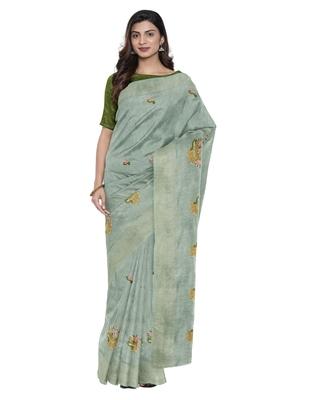 Light green plain linen saree with blouse