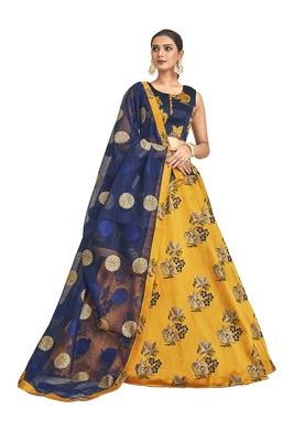 Mustard embroidered jacquard semi stitched lehenga