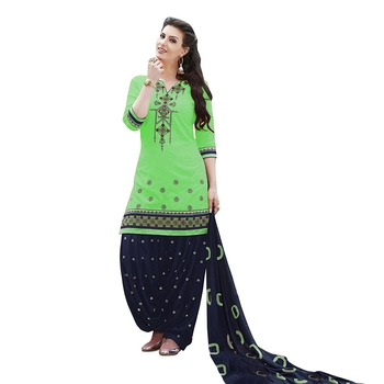 Pretty Parrot Green embroidered cotton unstitched salwar with dupatta