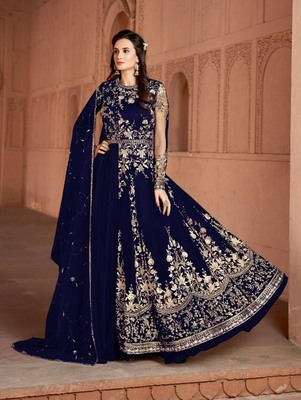 Navy Blue Butterfly Net Heavy Embroidery Designer Anarkali Suit