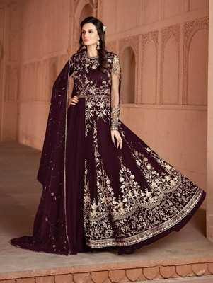 Magenta Butterfly Net Heavy Embroidery Designer Anarkali Suit