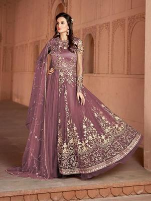 Soft Pink Butterfly Net Heavy Embroidery Designer Anarkali Suit