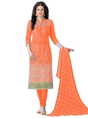 Pretty Light Orange Salwar Kameez Suit Set