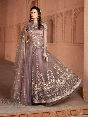 Light Purple Butterfly Net Heavy Embroidery Designer Anarkali Suit