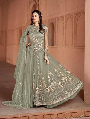 Olive Butterfly Net Heavy Embroidery Designer Anarkali Suit