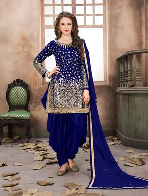 Dark Blue Taffeta Silk Patiala Suit
