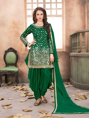 Dark Green Taffeta Silk Patiala Suit