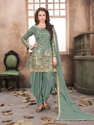 Teal Green Color Taffeta Silk Patiala Suit