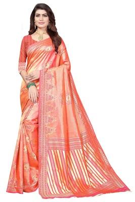 peach woven bararasi saree with blouse