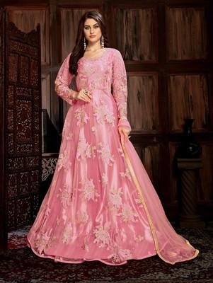 Pink Heavy Net with Satin Designer Anarkali Suit